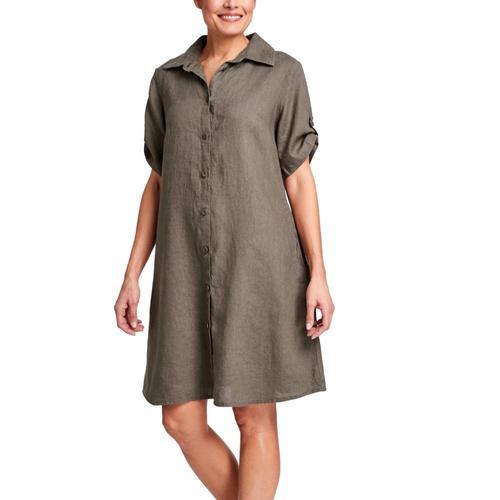 FLAX Women's Work Shirt Dress Mink