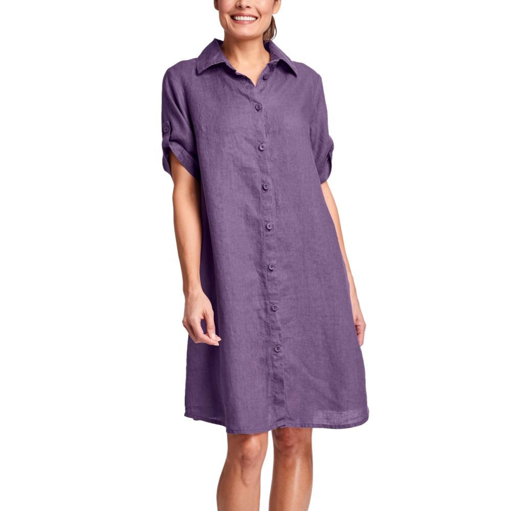 FLAX Women's Work Shirt Dress PLUM