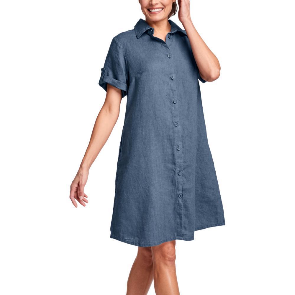 FLAX Women's Work Shirt Dress STEEL