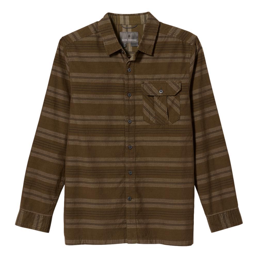 Royal Robbins Men's Covert Cord Organic Cotton Stripe Long Sleeve Shirt MOSS_225
