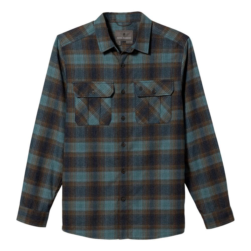 Royal Robbins Men's Lost Coast Flannel Plaid Long Sleeve Shirt ATLANTIC_120