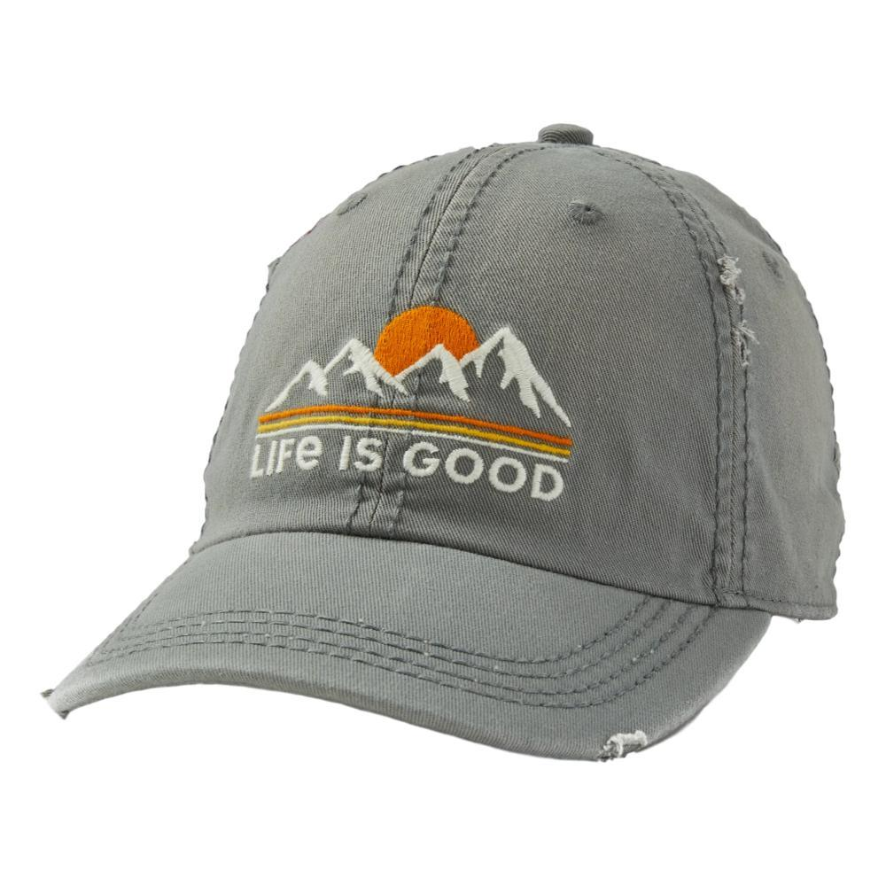 Life is Good Sunset Mountains Sunwashed Chill Cap SLATEGRAY
