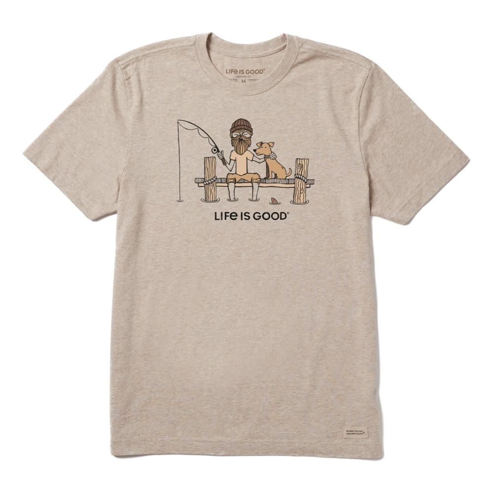Life is Good Men's Fishing Buddies Crusher Tee HEATHMOCHA