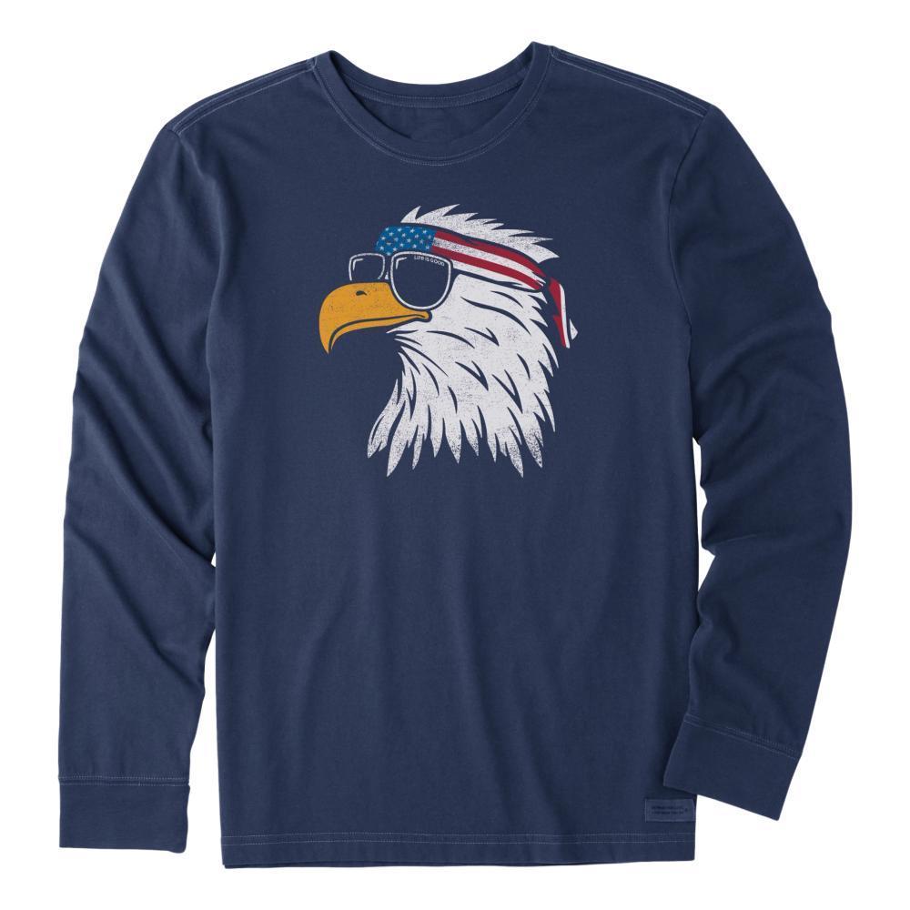 Life is Good Men's Patriotic Eagle Long Sleeve Crusher Tee DARKESTBLU
