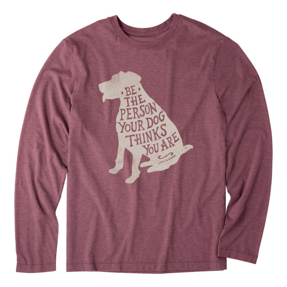 Life is Good Men's Be the Dog Long Sleeve Cool Tee BROWN