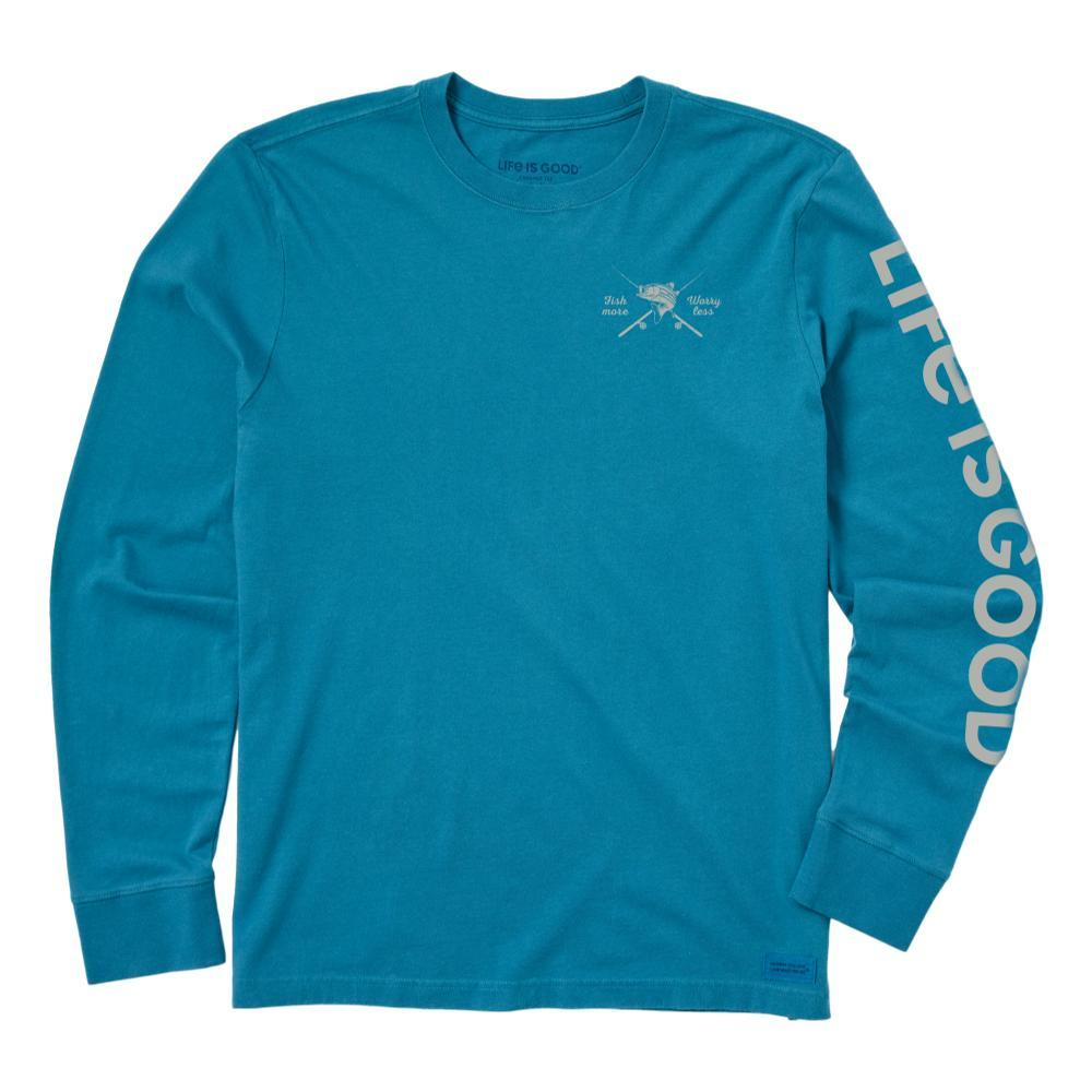 Life is Good Men's Fish More, Worry Less Long Sleeve Crusher Tee PERSIANBLU