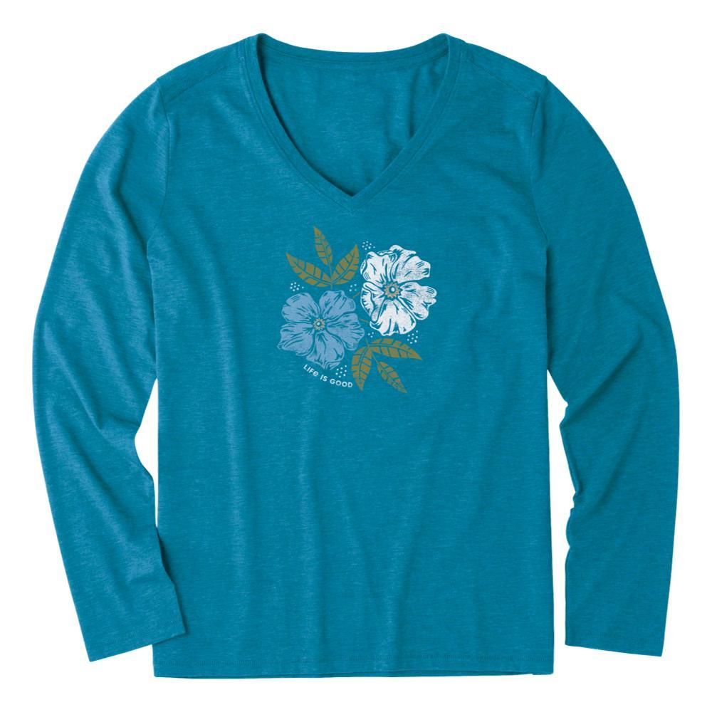 Life is Good Women's Strong Dogwood Flowers Long Sleeve Cool Vee PERSIANBLU