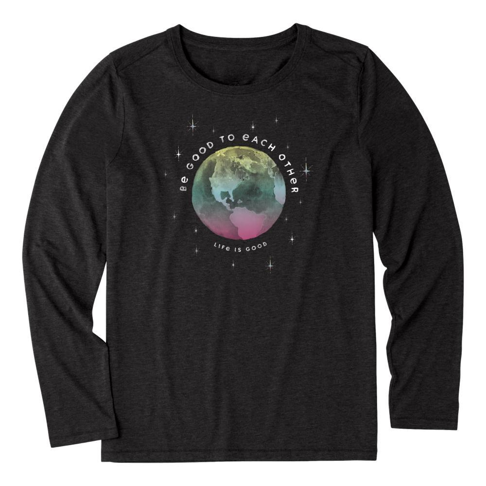Life is Good Women's Be Good To Each Other Long Sleeve Cool Tee JETBLACK