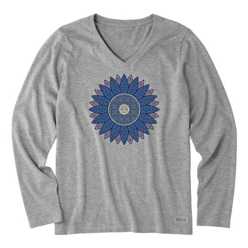 Life is Good Women's Spiral Daisy Long Sleeve Crusher Vee Heathgray