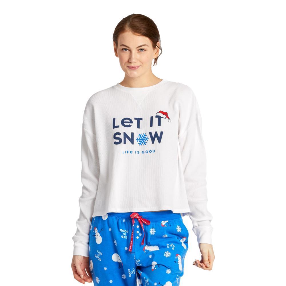Life is Good Women's Let it Snowflake Thermal Long Sleeve Sleep Tee SNOWWHITE