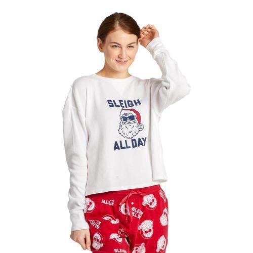Life is Good Women's Sleigh All Day Thermal Long Sleeve Sleep Tee Santawhite