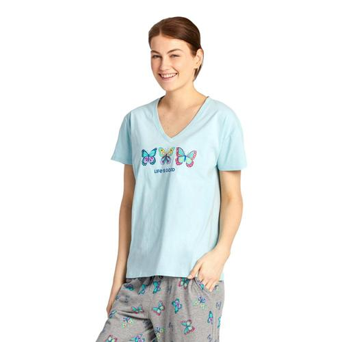 Life is Good Women's Happy Butterflies Snuggle Up Relaxed Sleep Vee Beachblue