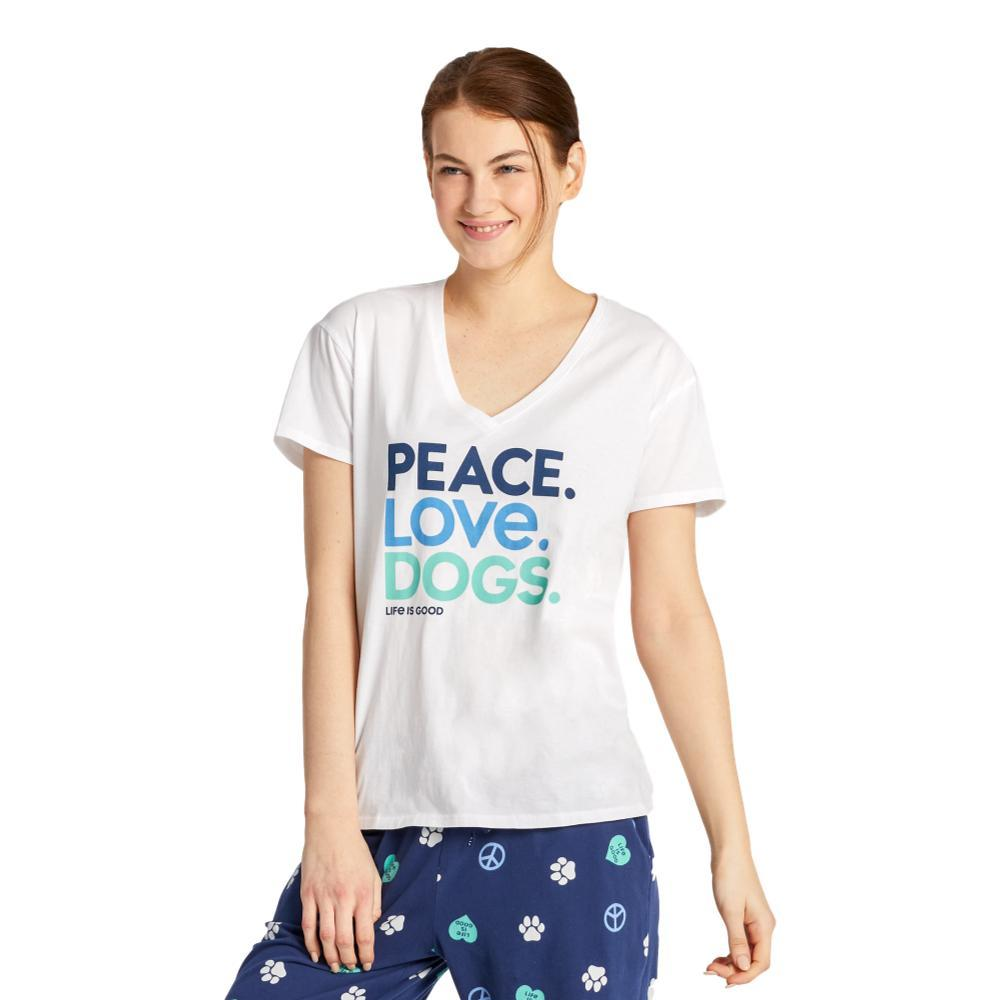 Life is Good Women's Peace, Love, Dogs Snuggle Up Relaxed Sleep Vee CLOUDWHITE
