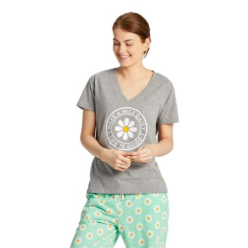 Life is Good Women's Have a Nice Daisy Snuggle Up Relaxed Sleep Vee Heathergray