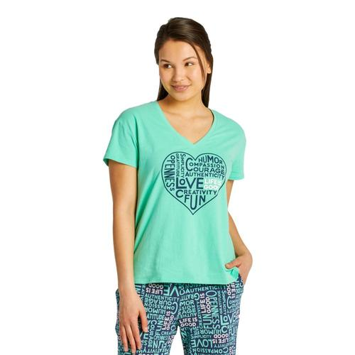 Life is Good Women's Superpower Love Snuggle Up Relaxed Sleep Vee Spearmintgrn