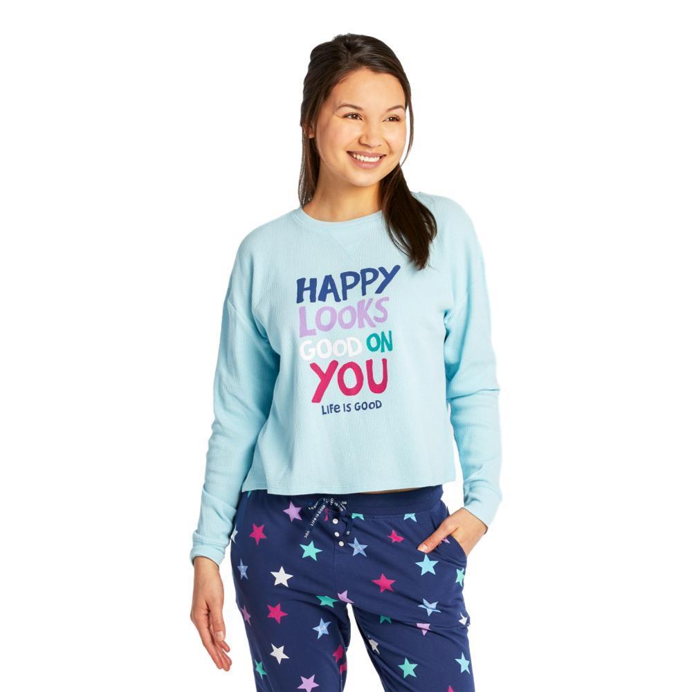 Life is Good Women's Happy Looks Good on You Thermal Long Sleeve Sleep Tee BEACHBLUE
