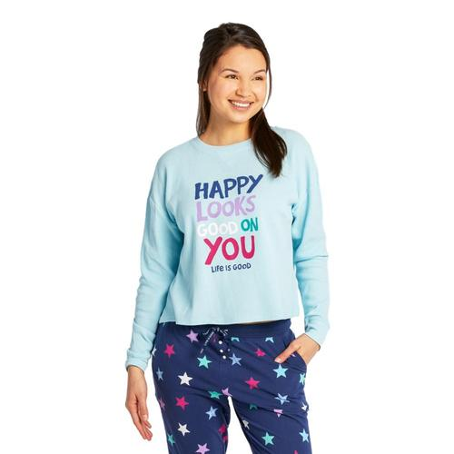 Life is Good Women's Happy Looks Good on You Thermal Long Sleeve Sleep Tee Beachblue