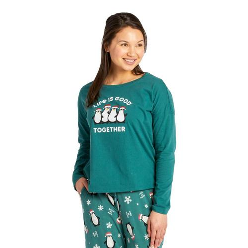 Life is Good Women's LIG Together Snuggle Up Relaxed Sleep Long Sleeve Tee Sprucegreen