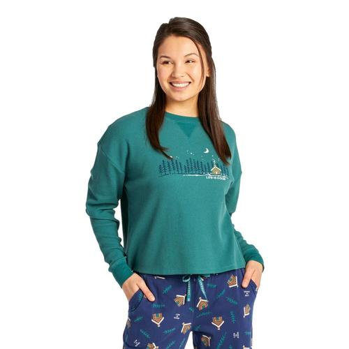 Life is Good Women's Cabin Landscape Thermal Long Sleeve Sleep Tee Sprucegreen