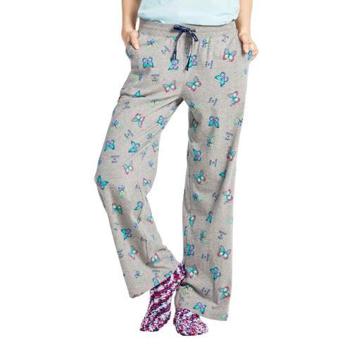 Life is Good Women's Happy Butterflies Snuggle Up Sleep Pants Heathergray