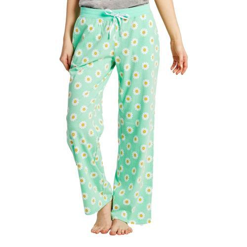 Life is Good Women's Daisy Polka Dot Snuggle Up Sleep Pants Spearmintgrn