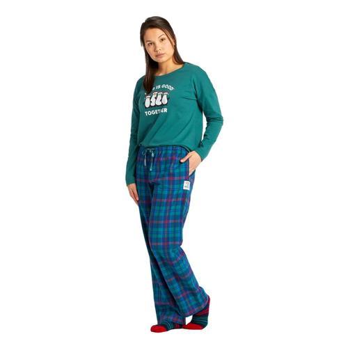 Life is Good Women's Holiday Plaid Classic Sleep Pants Darkestblue