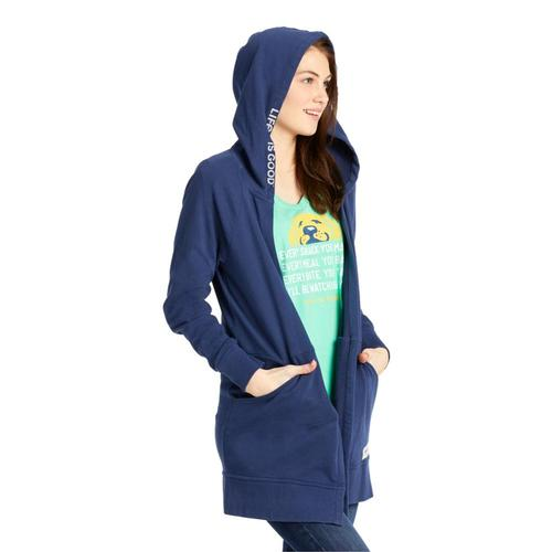 Life is Good Women's Simply True French Terry Beyond Hip Hoodie Darkestblue