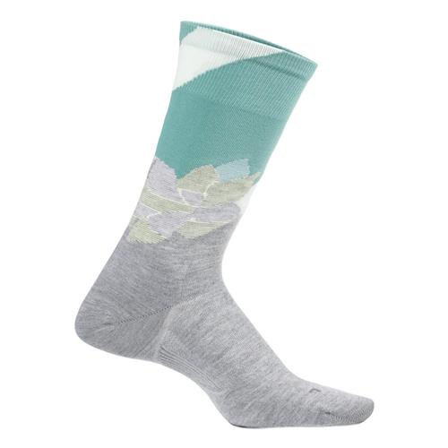 Feetures Women's Everyday Ultra Light Crew Neo Floral Socks Lightgray