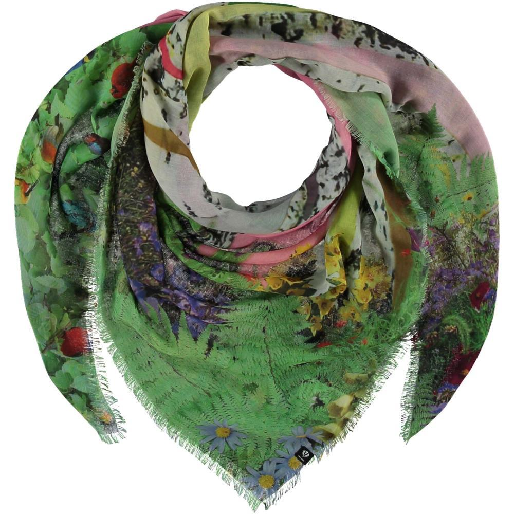 V. Fraas TH!NK Domesticated Nature Polyester Print Square Scarf LGREEN_700