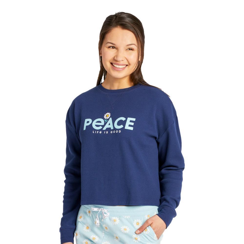 Life is Good Women's Peace Daisy Thermal Long Sleeve Sleep Tee DARKESTBLUE