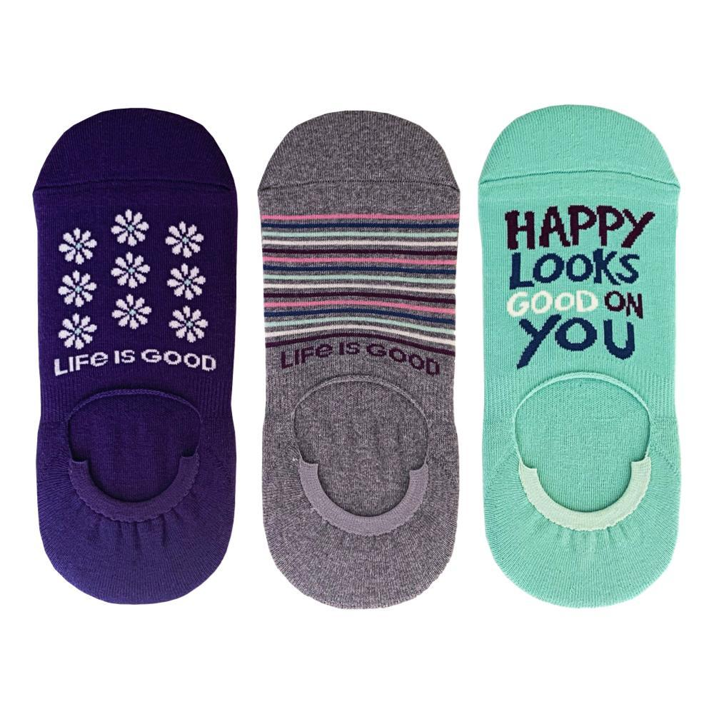 Life is Good Women's Daisies/Stripes/Happy Cushioned No Show Socks 3-Pack HAPPY