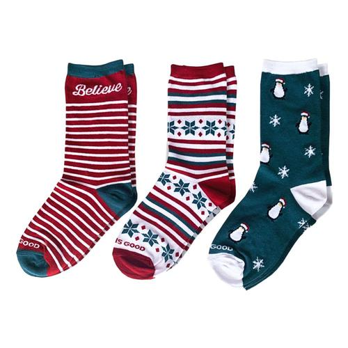 Life is Good Women's Holiday Crew Socks 3-Pack Holiday