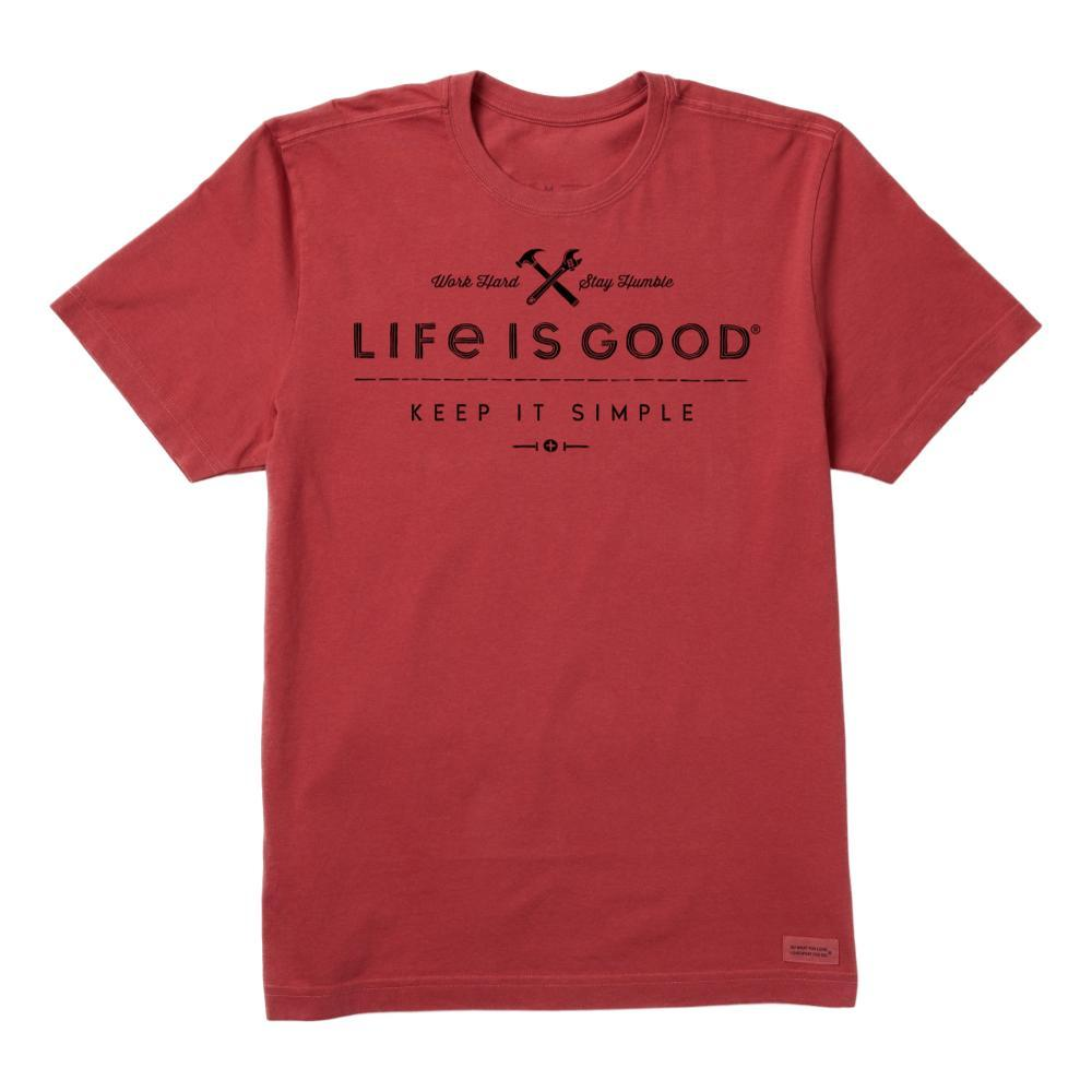 Life is Good Men's Keep It Simple Handyman Crusher Tee FADEDRED
