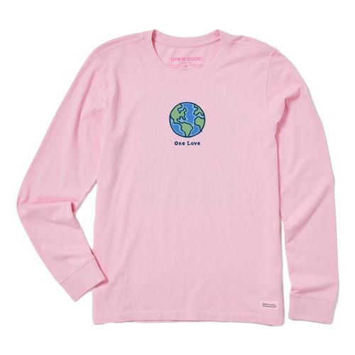Life is Good Women's One Love Earth Long Sleeve Vintage Crusher Tee Happypink