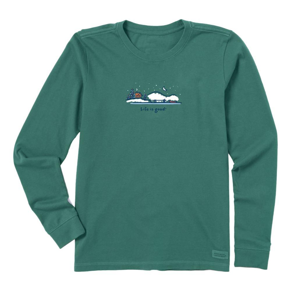 Life is Good Women's Winter On The Water Long Sleeve Vintage Crusher Tee SPRUCGREEN
