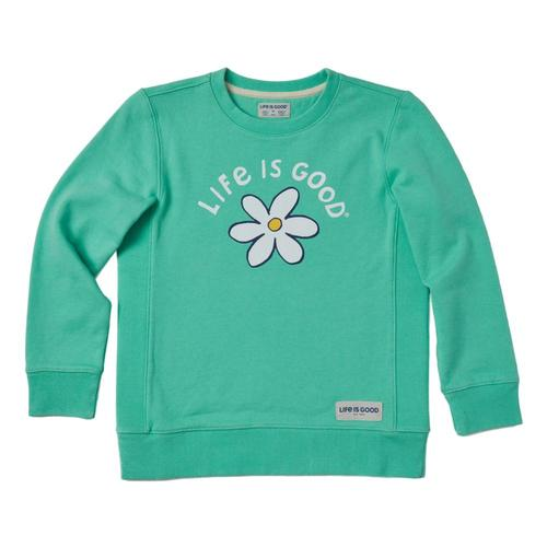 Life is Good Girls LIG Daisy Simply True Fleece Crew Sprgreen