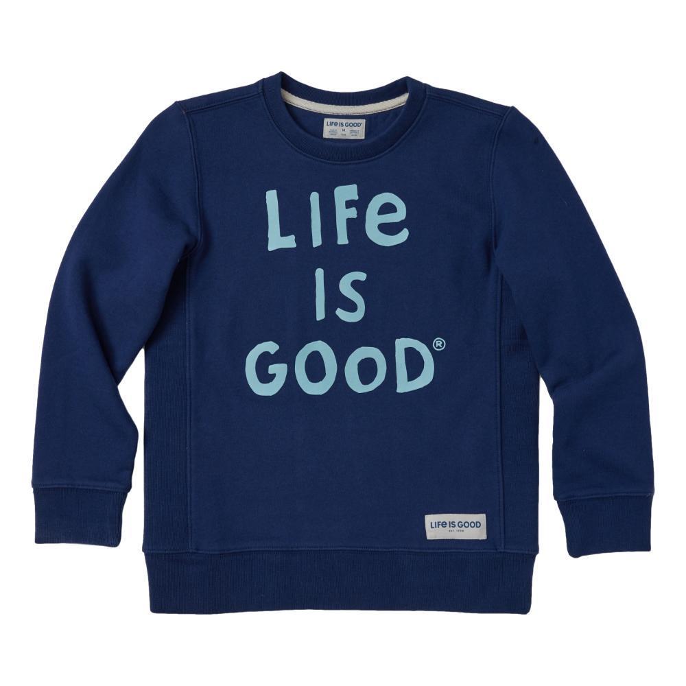 Life is Good Boys LIG Scribble Simply True Fleece Crew DRKSTBLUE