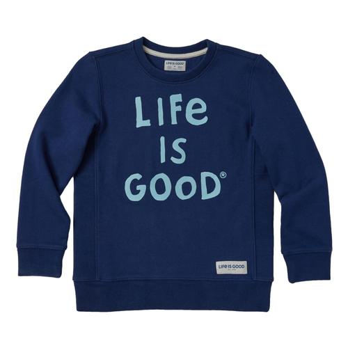 Life is Good Boys LIG Scribble Simply True Fleece Crew Drkstblue