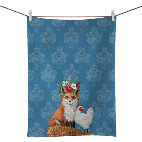 Greenbox Art Fox And Rooster On Blue Tea Towel