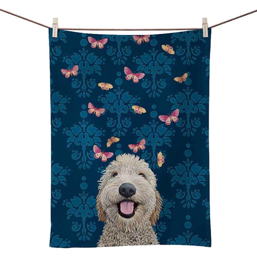 Greenbox Art Happy Dog Tea Towel