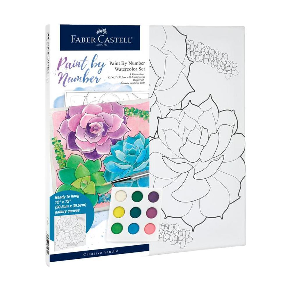 Faber- Castell Watercolor Paint By Number Set - Succulents