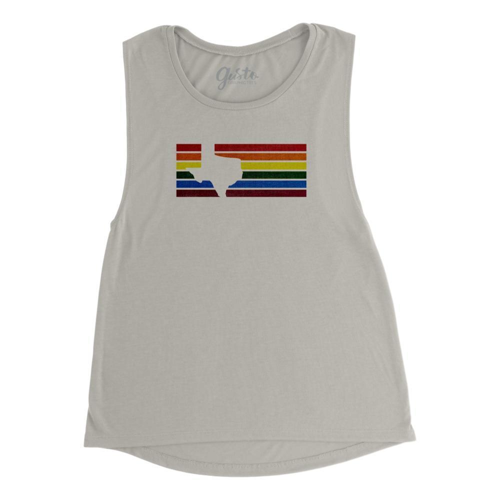 Gusto Tees Women's Texas Stripes Rainbow Muscle Tank STONE