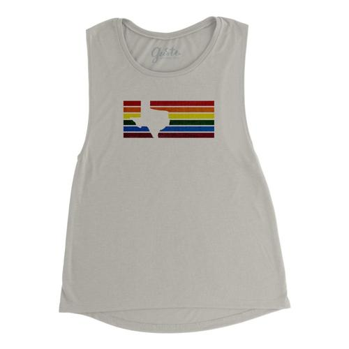 Gusto Tees Women's Texas Stripes Rainbow Muscle Tank Stone