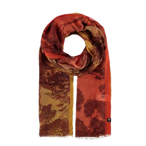V. Fraas Ombre Toile Polyester Print Scarf Orange_260