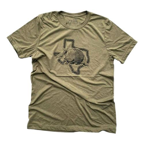 Gusto Tees Men's Armadillo Texas T-shirt Olive