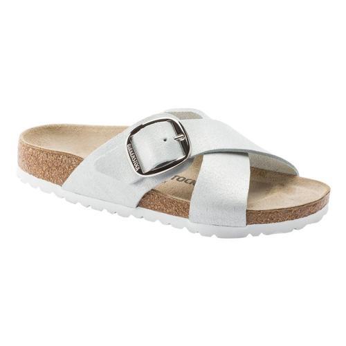 Birkenstock Women's Siena Big Buckle Suede Leather Sandals - Narrow Wsmtwht