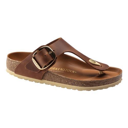 Birkenstock Women's Gizeh Big Buckle Leather Sandals - Regular Cognac.Lth