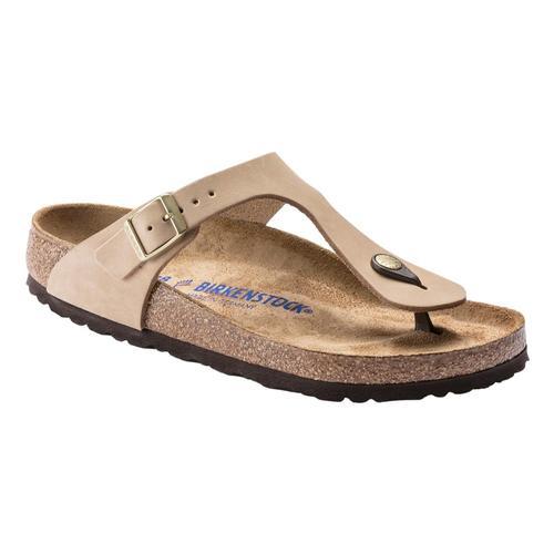 Birkenstock Women's Gizeh Soft Footbed Nubuck Leather Sandals - Regular Sandcsl.Nb