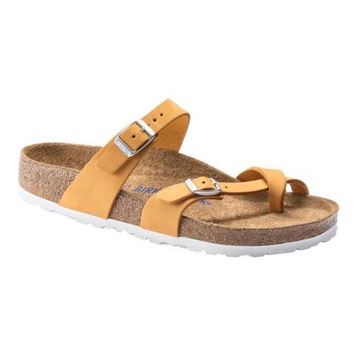 Birkenstock Women's Mayari Soft Footbed Nubuck Leather Sandals - Regular Aprict.Nb
