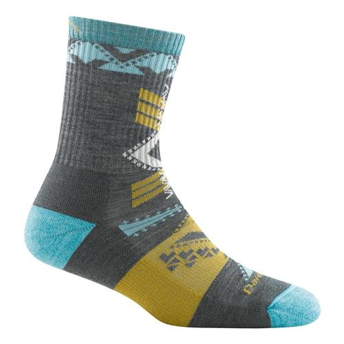 Darn Tough Women's Kaliedoscope Micro Crew Lightweight Hiking Socks Gray
